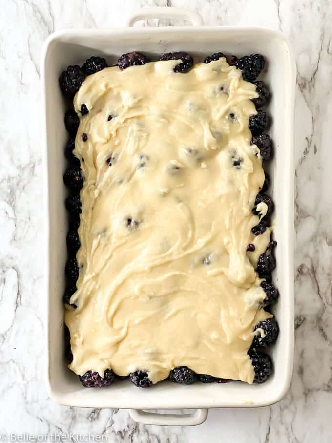 a rectangle baking dish full of blackberries and topped with batter