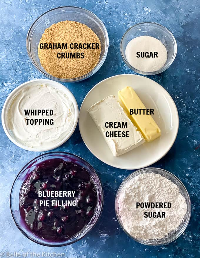 ingredients laid out to make blueberry cream pie