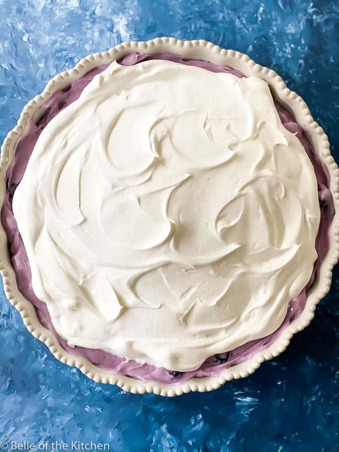 closeup of a blueberry cream pie