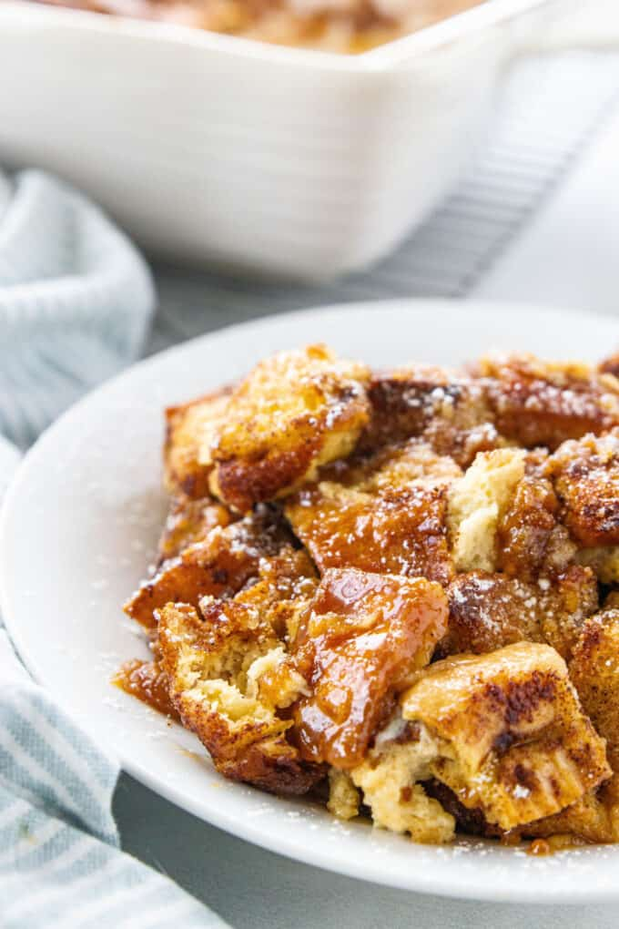 a white plate with french toast casserole