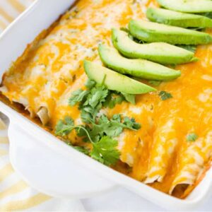white being dish with chicken enchiladas and avocado on top