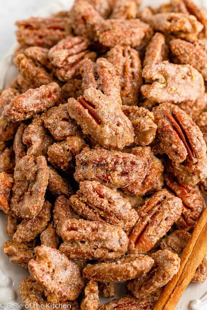 a pile of cinnamon roasted pecans