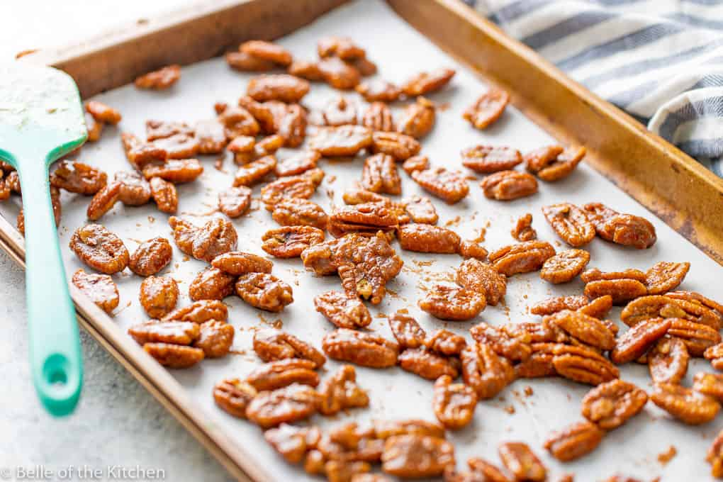 a sheet pan spread with cinnamon roasted pecans