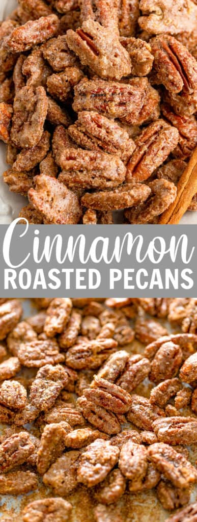 a pile of cinnamon roasted pecans