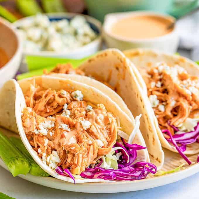 buffalo chicken tacos on a plate