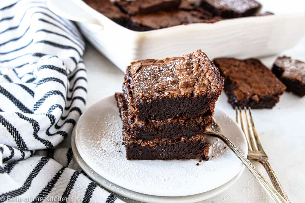 a stack of dark chocolate brownies