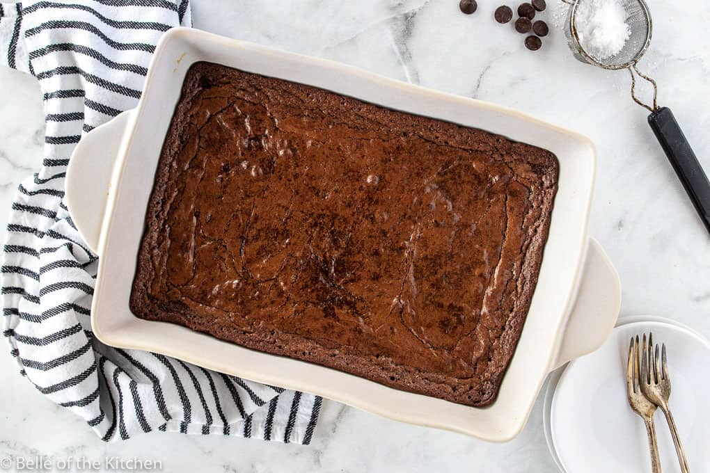 brownies in a white baking dish
