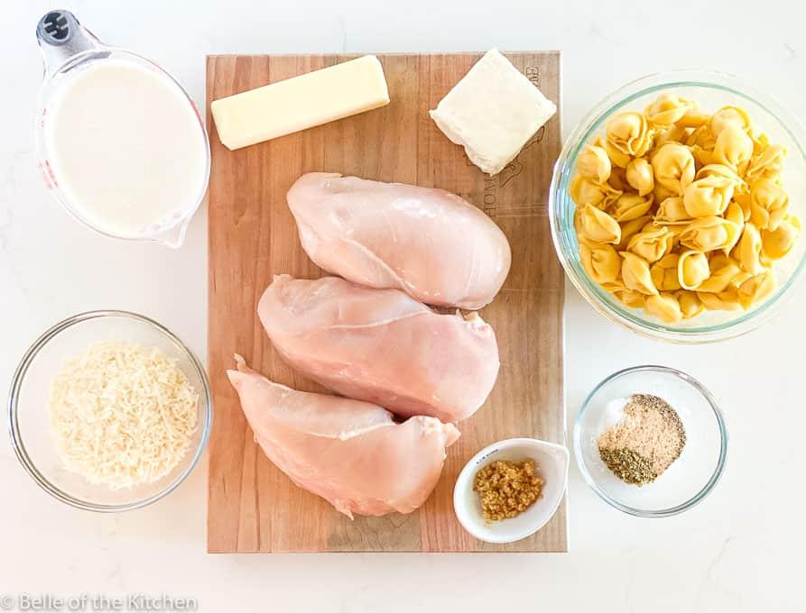 ingredients laid out on a wooden cutting board