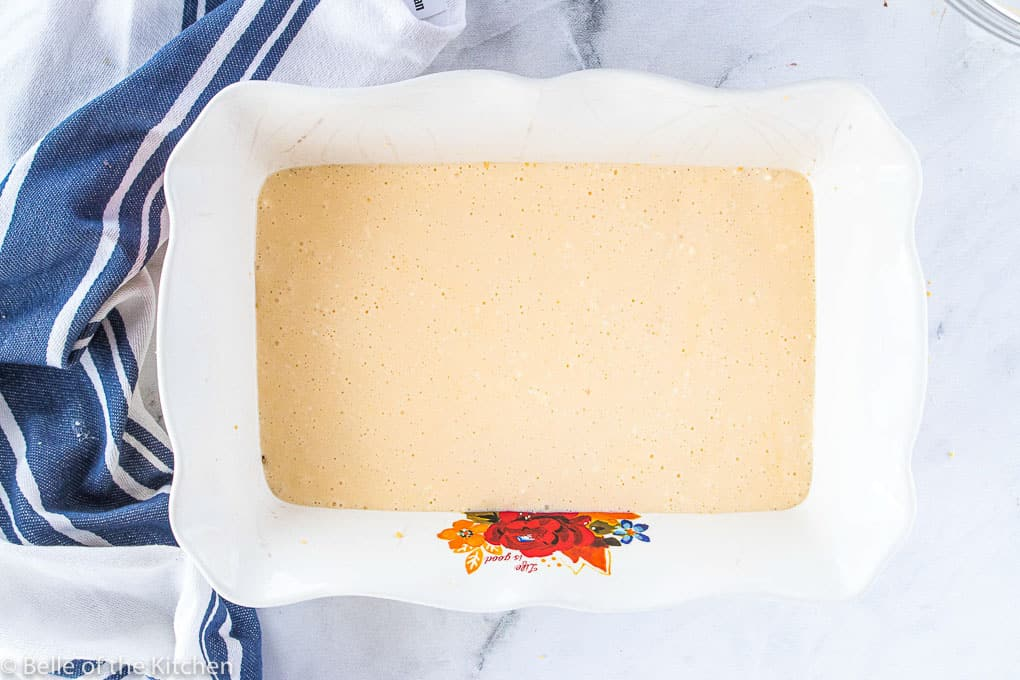 cheesecake filling in a baking pan