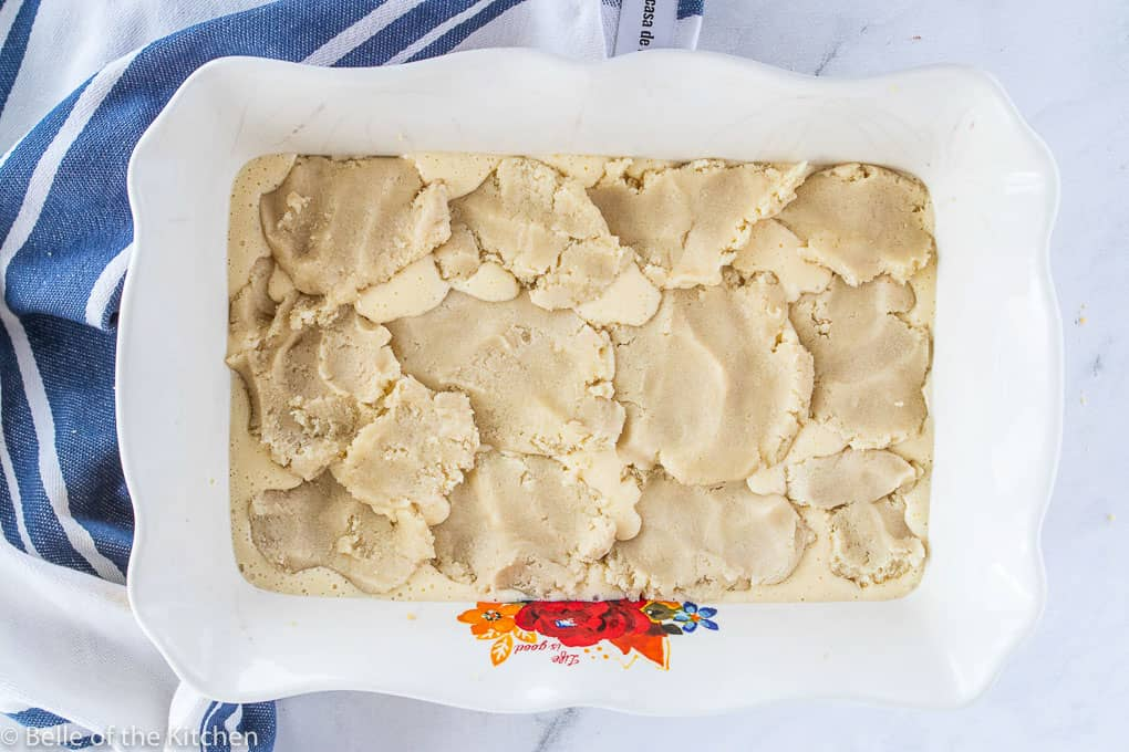 sugar cookie dough in a baking pan