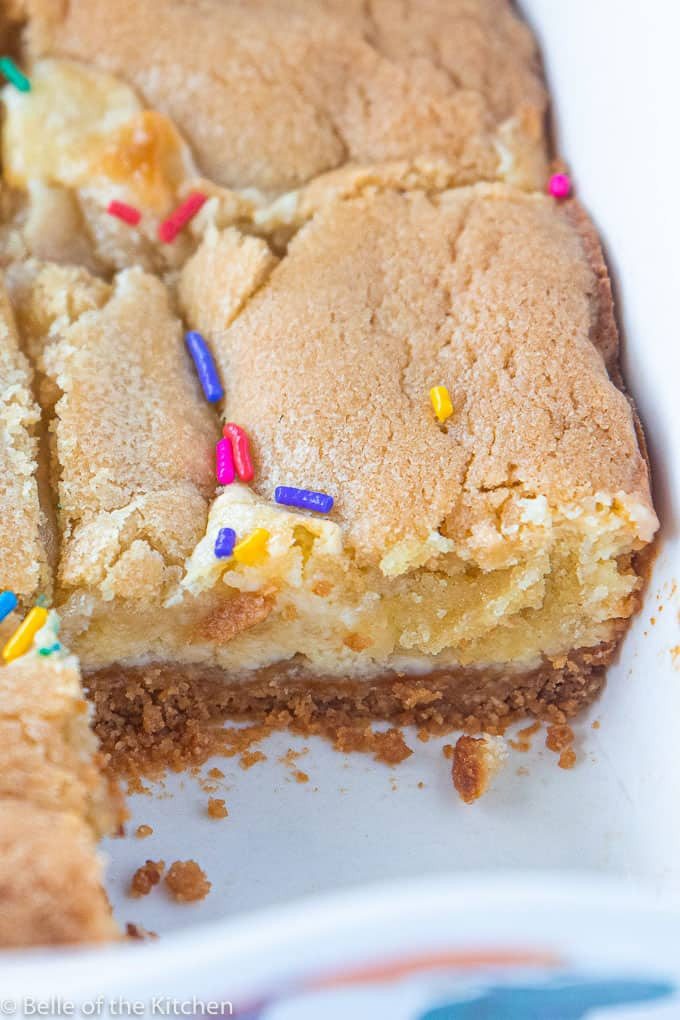 A close up of a cheesecake bars with sprinkles