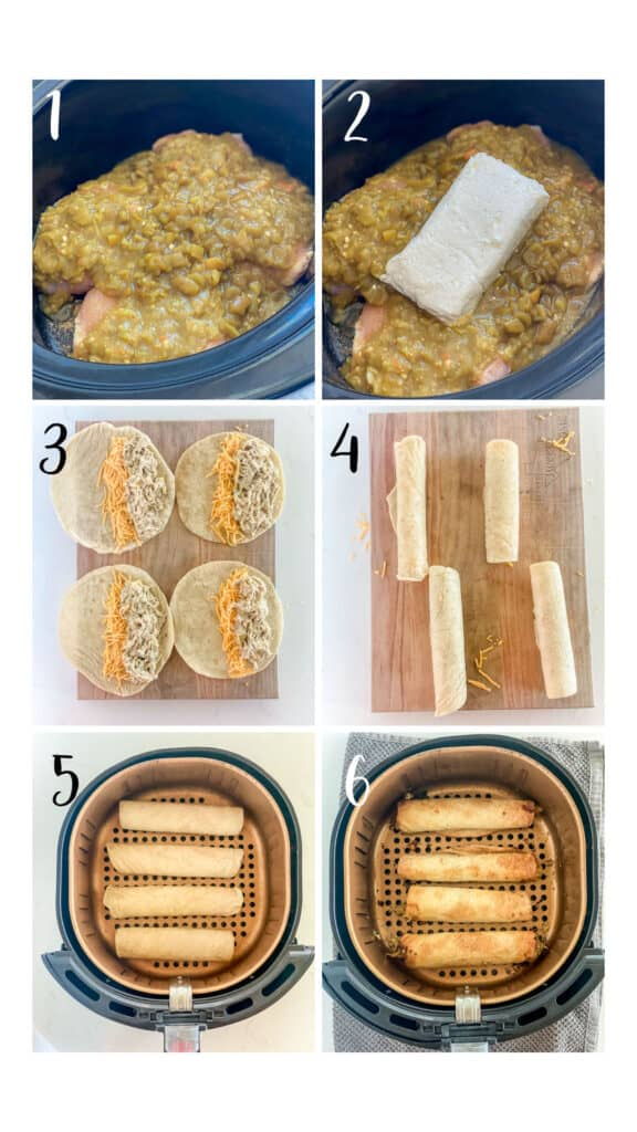 step by step directions for how to make air fryer taquitos