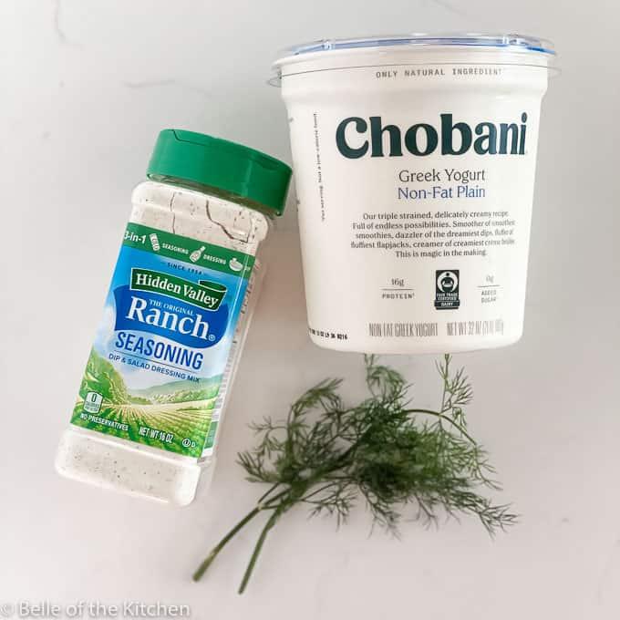 ingredients for greek yogurt ranch dip