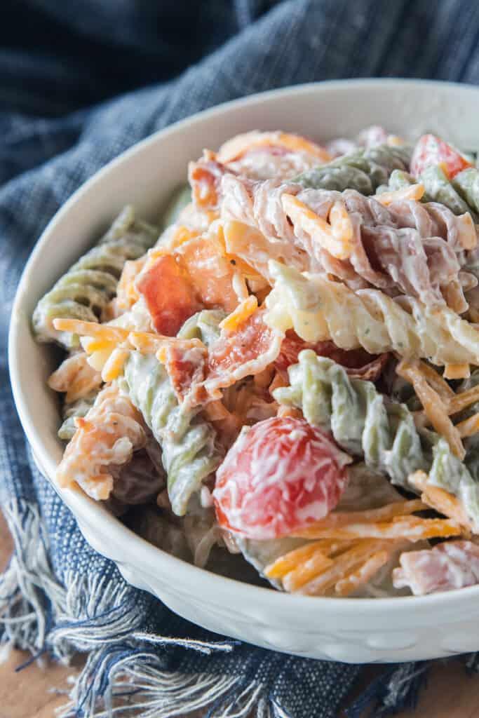close up of a bowl of pasta salad