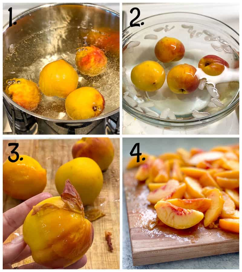 step by step graphic for how to peel peaches