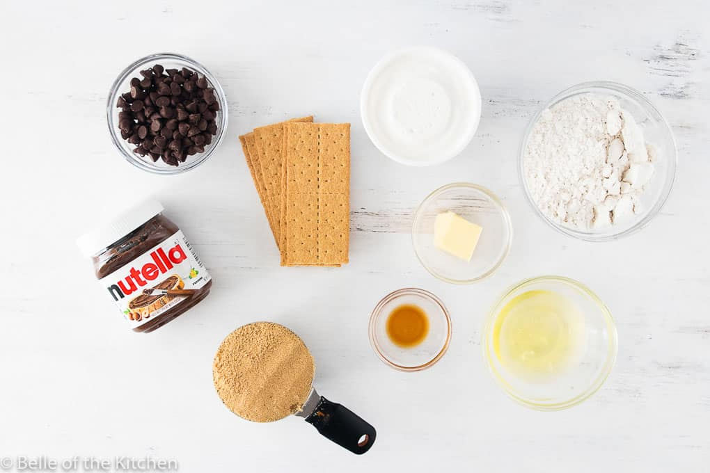 ingredients laid out to make s'more bars