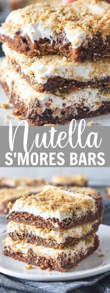 a stack of s'mores bars with a bite taken out of the one on top