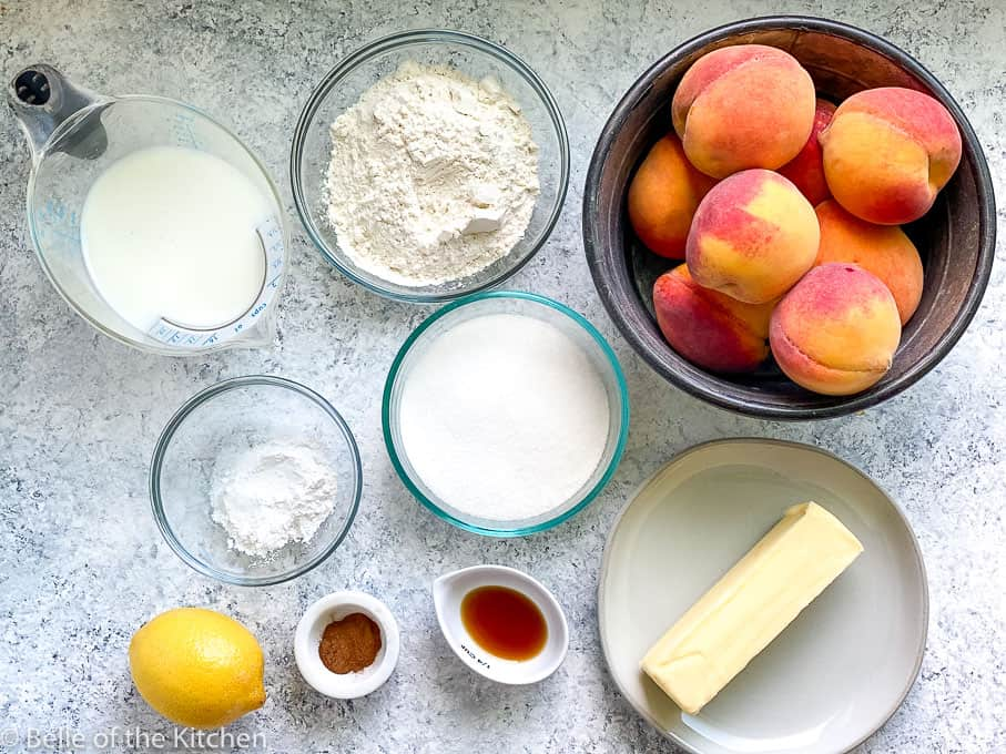 ingredients laid out for peach cobbler