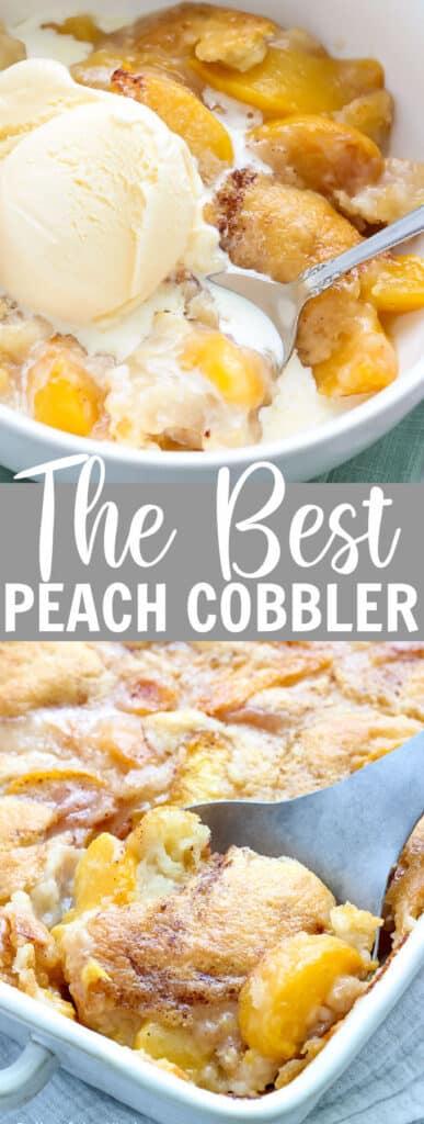 peach cobbler in a white bowl with vanilla ice cream