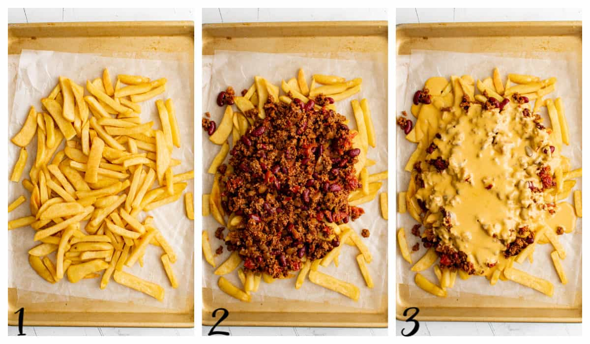 fries covered with chili and cheese sauce on a sheet pan