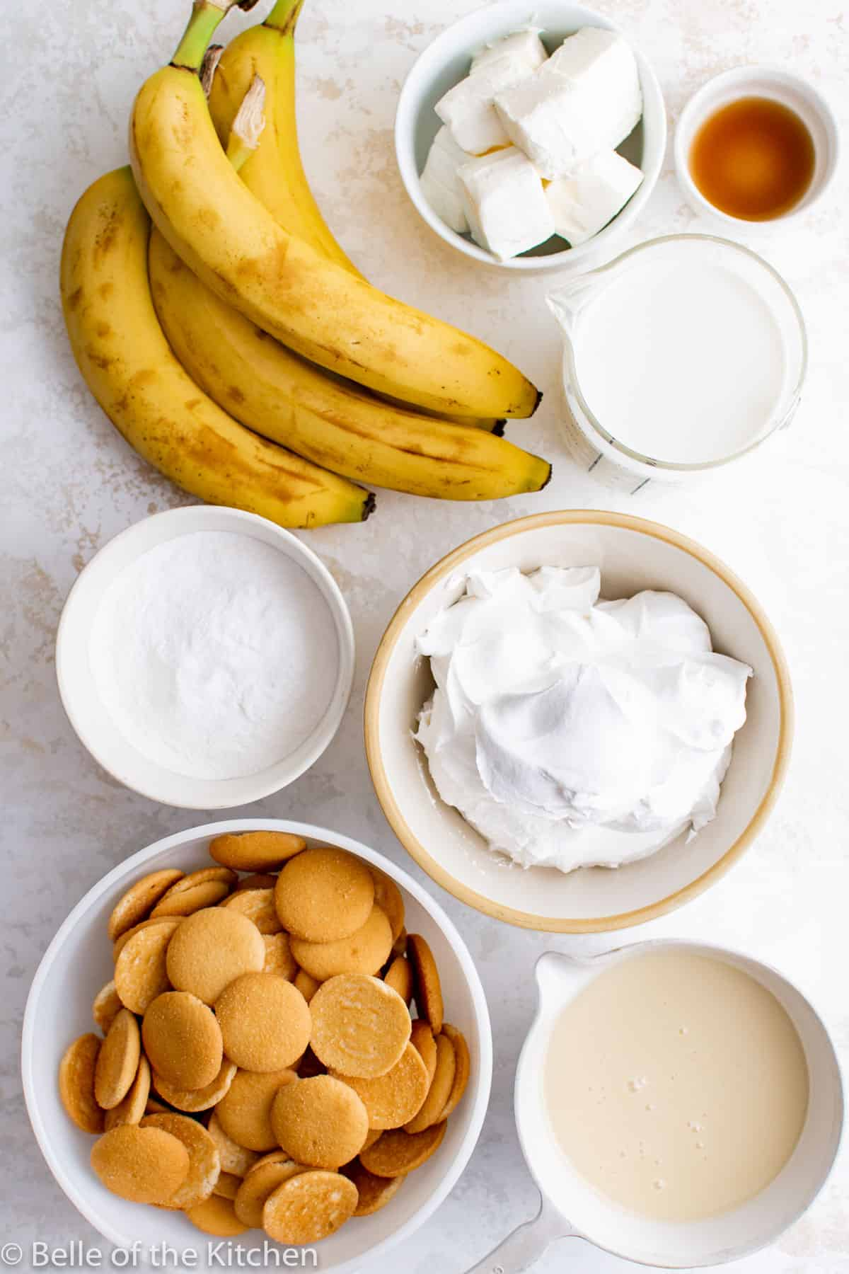 ingredients laid out to make banana pudding