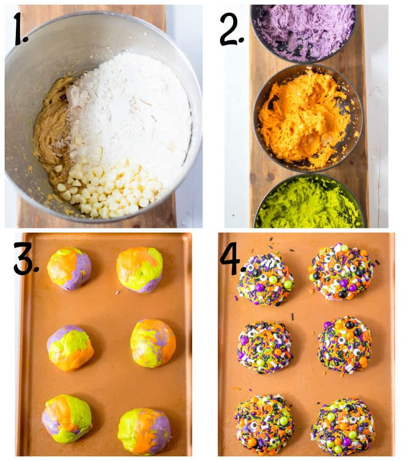 step by step graphic for how to make halloween cookies