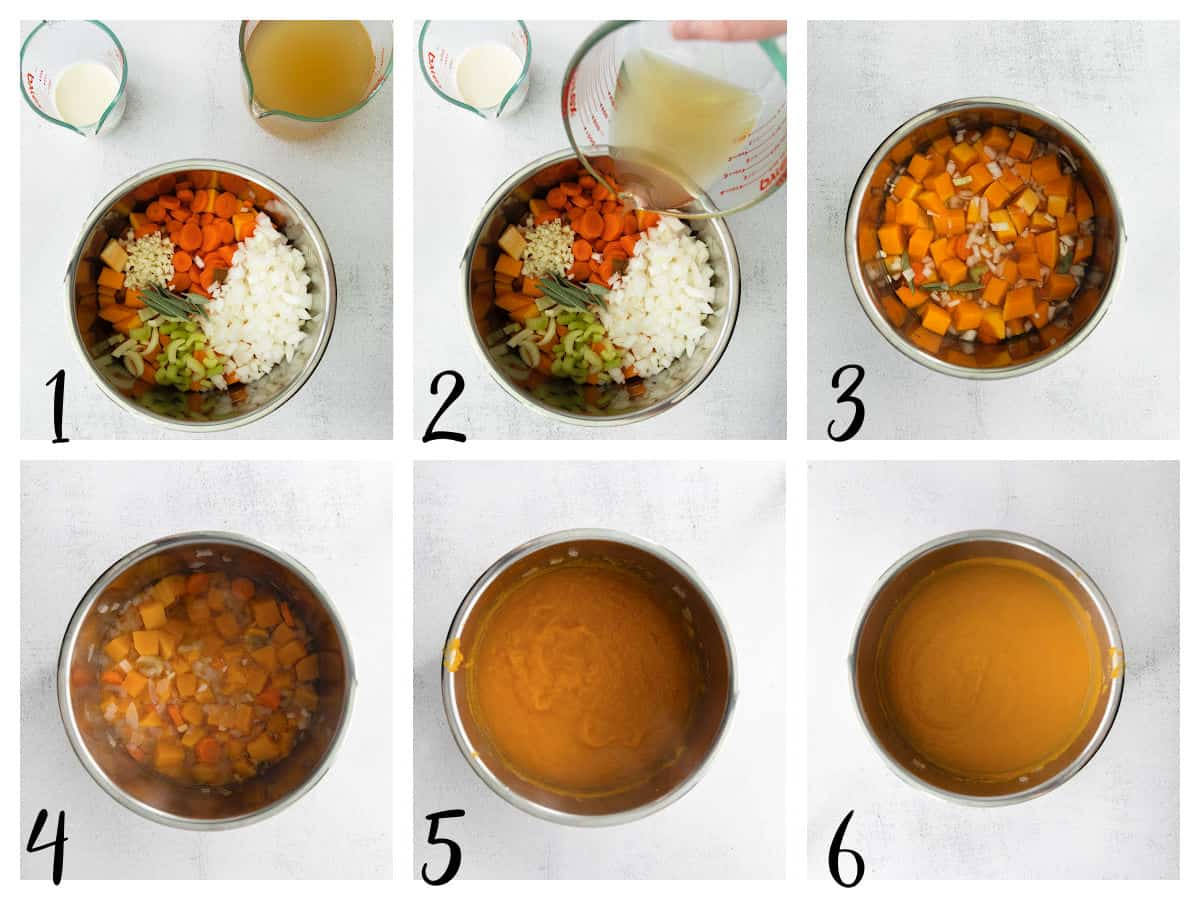 step by step graphic for how to make soup in the instant pot