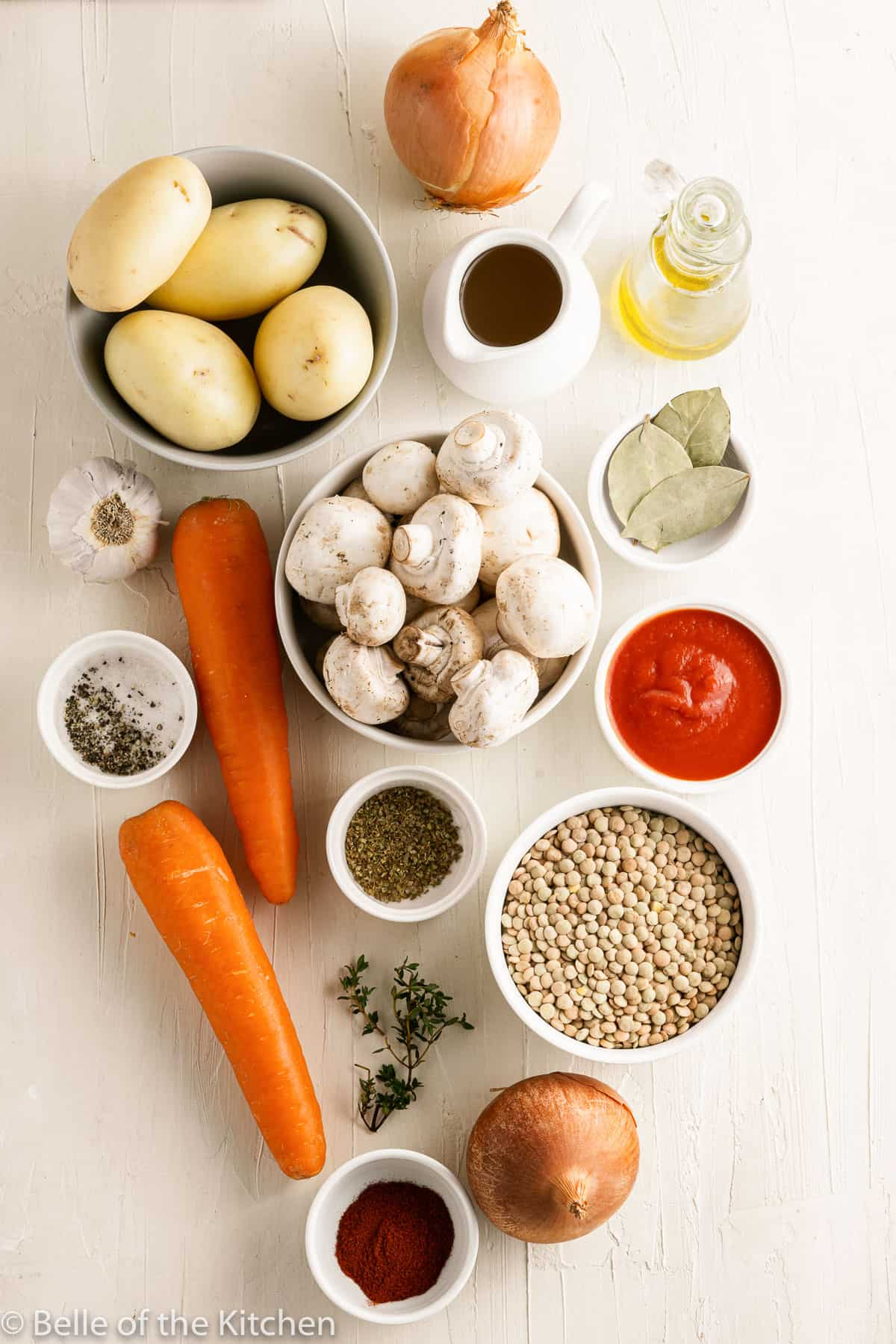 ingredients laid out to make soup