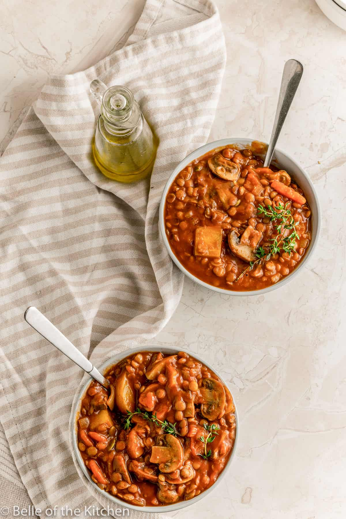 two bowls full of vegetable stew recipe