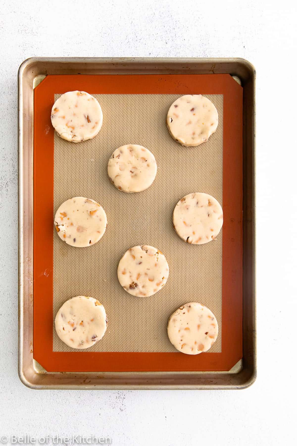 cookie dough on a sheet pan