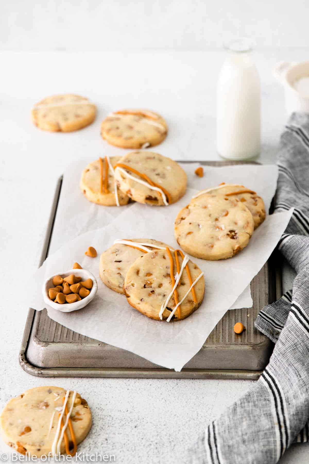 shortbread cookies on a cookie sheet